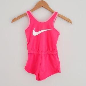 Girl's Nike pink romper glitter swoosh size 4